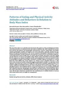 Patterns of Eating and Physical Activity Attitudes and Behaviors in ...