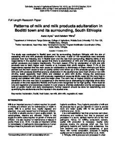 Patterns of milk and milk products adulteration in ...