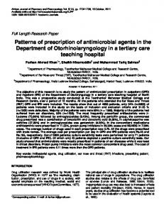 Patterns of prescription of antimicrobial agents in the Department of ...