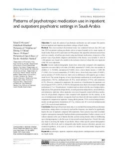 Patterns of psychotropic medication use in