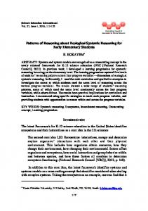 Patterns of Reasoning about Ecological Systemic Reasoning for ... - Eric