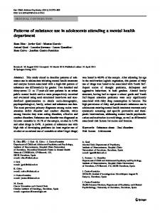 Patterns of substance use in adolescents attending a mental health ...