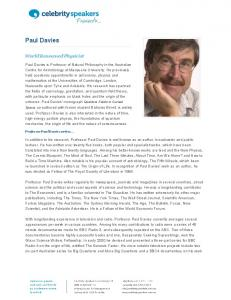 Paul Davies - Celebrity Speakers