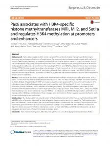 Pax6 associates with H3K4-specific histone methyltransferases Mll1 ...
