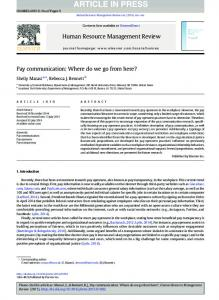 Pay communication: Where do we go from here?