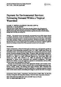 Payment for Environmental Services: Estimating Demand ... - CiteSeerX