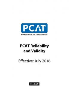 PCAT Reliability and Validity