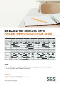 PCN & SNT Training Course Schedule for 2013