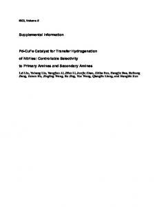 Pd-CuFe Catalyst for Transfer Hydrogenation of Nitriles: Controllable
