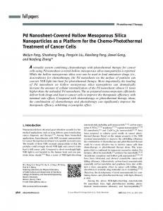 Pd NanosheetCovered Hollow Mesoporous Silica Nanoparticles as