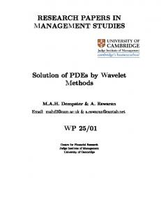 PDF - Solution of PDEs by 'Wavelet Methods' - working paper