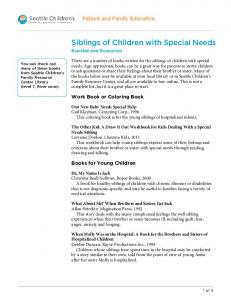 PE1486 Siblings of Children with Special Needs: Booklist and ...