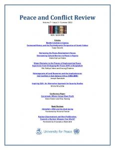 Peace and Conflict Review 7(2) - Peace & Conflict Review - University ...