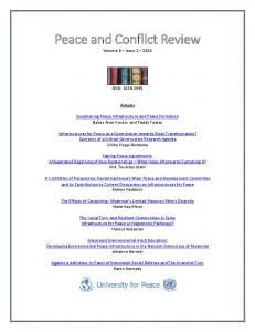 Peace and Conflict Review 9.1 - Peace & Conflict Review - University ...