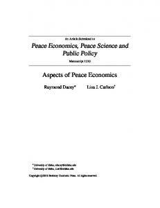 Peace Economics, Peace Science and Public Policy