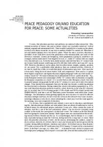 peace pedagogy or/and education for peace: some actualities