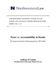 Peace vs. Accountability in Bosnia - SSRN papers