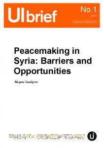 Peacemaking in Syria: Barriers and Opportunities