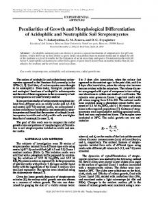 Peculiarities of Growth and Morphological ... - Springer Link
