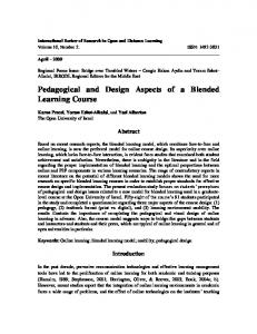 Pedagogical and Design Aspects of a Blended Learning Course - Eric