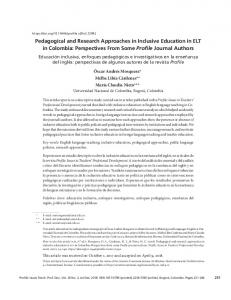 Pedagogical and Research Approaches in ... - SciELO Colombia