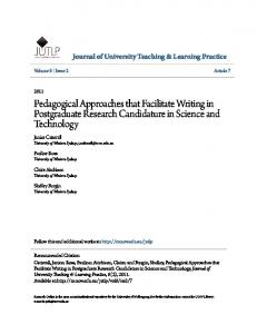 Pedagogical Approaches that Facilitate Writing in ... - CiteSeerX