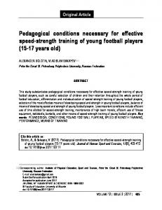 Pedagogical conditions necessary for effective speed-strength training ...