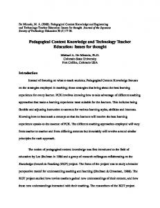 Pedagogical Content Knowledge and Technology Teacher Education ...