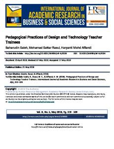 Pedagogical Practices of Design and Technology Teacher ... - hrmars.