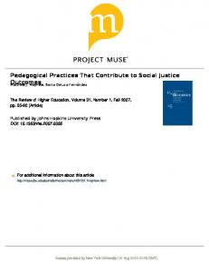 Pedagogical Practices That Contribute to Social ...