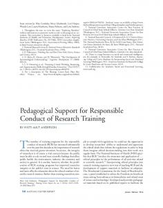 Pedagogical Support for Responsible Conduct ... - Wiley Online Library