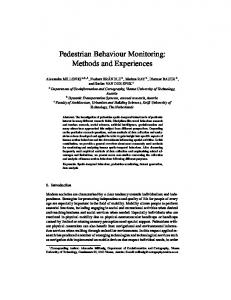 Pedestrian Behaviour Monitoring: Methods and ... - Semantic Scholar