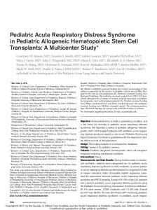 Pediatric Acute Respiratory Distress Syndrome in ... - IngentaConnect