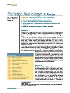 Pediatric Audiology: A Review - Pediatrics in Review