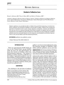 Pediatric Palliative Care - NCBI