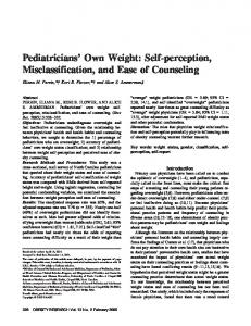 Pediatricians Own Weight: Selfperception ... - Wiley Online Library