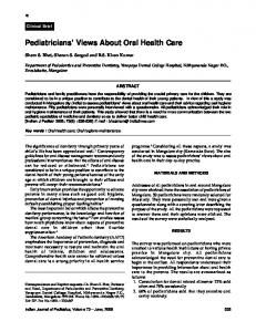 Pediatricians' Views About Oral Health Care - MedIND
