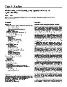 Pediatrics, Surfactant, and Cystic Fibrosis in AJRCCM ... - ATS Journals