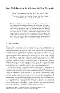 Peer Collaboration in Wireless Ad Hoc Networks
