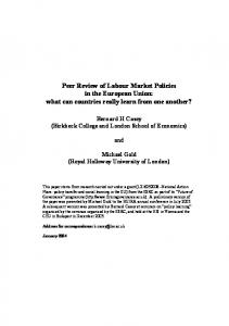 Peer Review of Labour Market Policies in the European ... - CiteSeerX