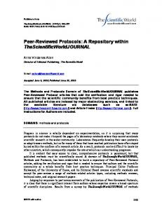 Peer-Reviewed Protocols: A Repository within
