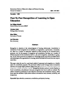 Peer-To-Peer Recognition of Learning in Open Education - Eric