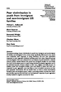 Peer victimization in youth from immigrant and non ... - SAGE Journals