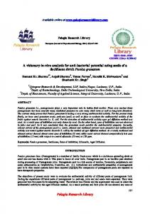 Pelagia Research Library A visionary in-vitro analysis for ... - iMedPub