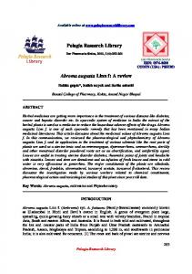 Pelagia Research Library Abroma augusta Linn f: A review