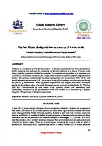 Pelagia Research Library Feather Waste biodegradation as ... - iMedPub