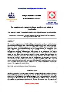Pelagia Research Library Formulation and evaluation of ... - iMedpub