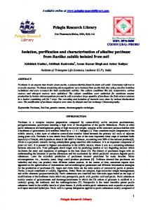 Pelagia Research Library Isolation, purification and ... - iMedpub