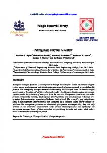 Pelagia Research Library Nitrogenase Enzyme: A Review - iMedpub