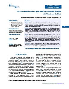 Pelvic Incidence and Lumbar Spine Instability